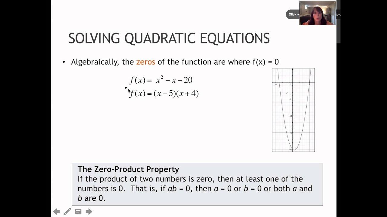 15 1 Solve Quadratics Using The Zero Product Property