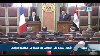 وزير الخارجية الفرنسي يبحث في القاهرة الأزمة الليبية