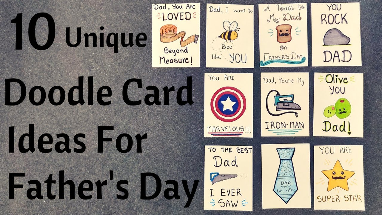 Diy Father S Day Pun Doodle Cards Birthday Cards For Dad Youtube