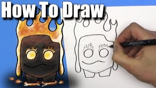 How To Draw the Fire Spirit from Clash Royale - EASY - Step By Step