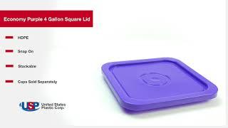 Economy Purple 4 Gallon Square Lid | U.S. Plastic Corporation®