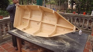 Woodworking Skills Creative New Projects // Build a Boat Out Of Pine Wood, DIY - How To