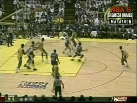 Chris Mullin (41pts, 16/21FG) vs. Magic Johnson (44pts/12rebs/9asts) (1991 Playoffs)