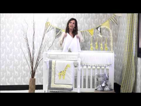 Pam Grace Creations Argyle Giraffe Baby Bedding Set Video