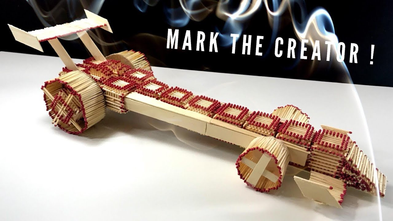 How to Make Amazing Race Car Dragster From Matches and burn it