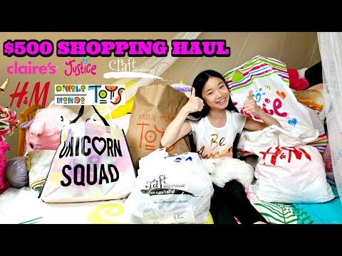 $500 SHOPPING HAUL!  WHAT DID I GET WITH $500 AT THE MALL AND CRAFT STORES? Claire's Justice, H&M...
