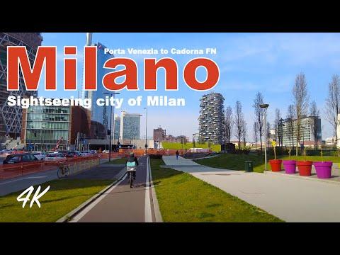 MILANO, ITALY, Sightseeing city of Milano from Porta Venezia to Cadorna FN | Virtual cycling  4k-UHD