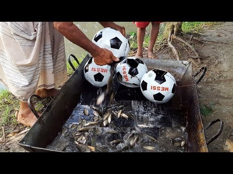 Unique Fish Trapping System In Football - New Technique Of Catching Country Fish - Football Fishing thumbnail