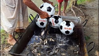 Unique Fish Trapping System In Football - New Technique Of Catching Country Fish - Football Fishing