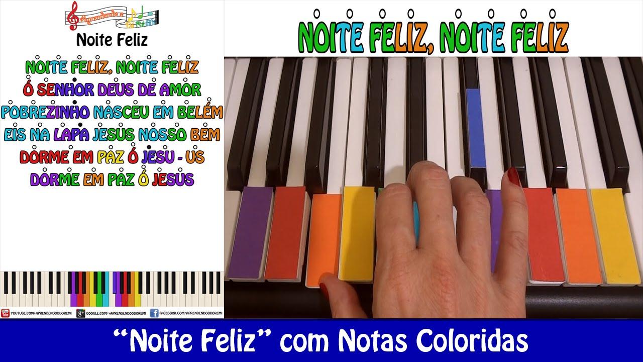 """Mensagens De Noite Feliz: """"Noite Feliz"""" No Teclado/Piano Com Notas Coloridas (Aula"""