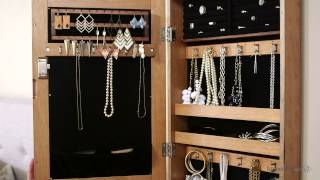 Distressed Wall Mount Mirrored Jewelry Armoire - Natural - Product Review Video