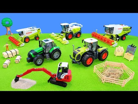 Farming Harvester Toys | Construction Vehicles, Excavators, Tractor, Fork-Lift-Truck in the Sand