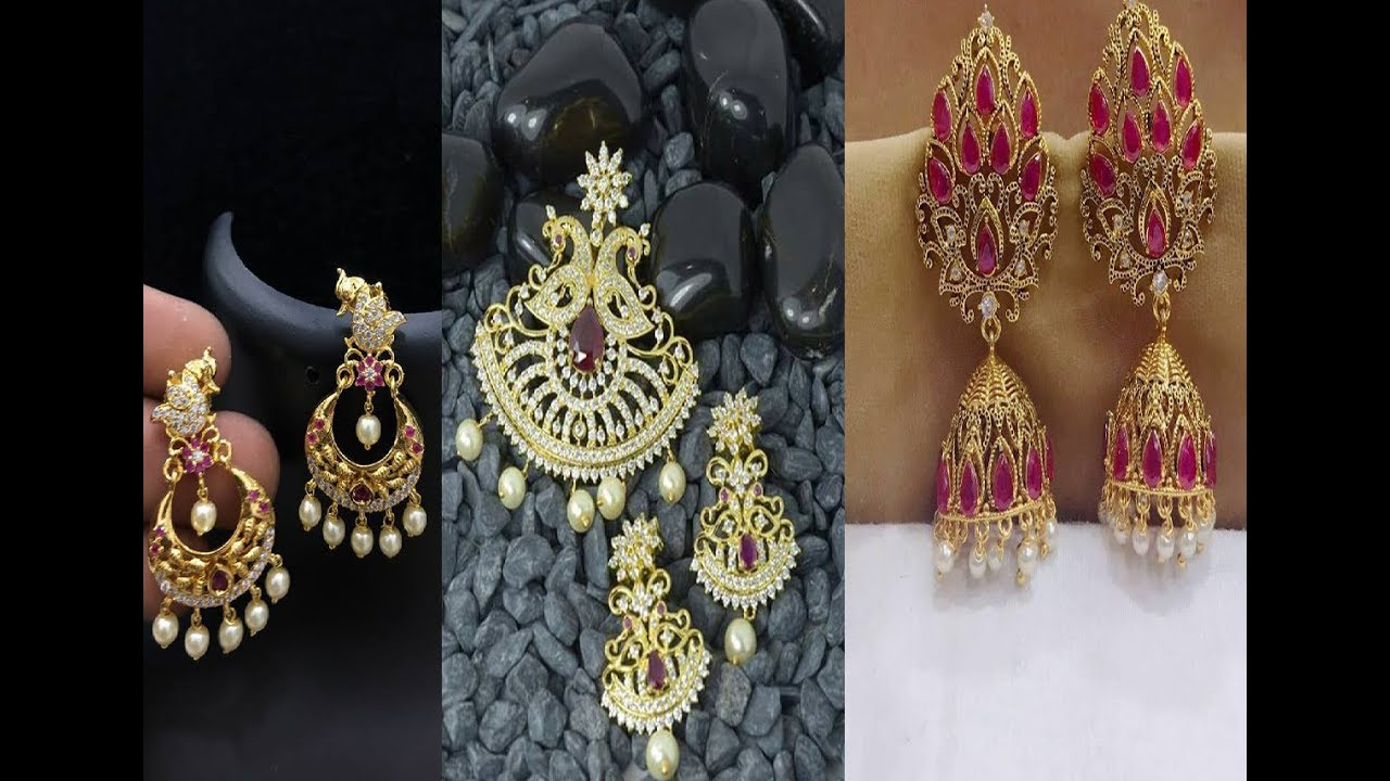 South Indian Pearl Jhumka Collections || Gold earrings jhumka ...