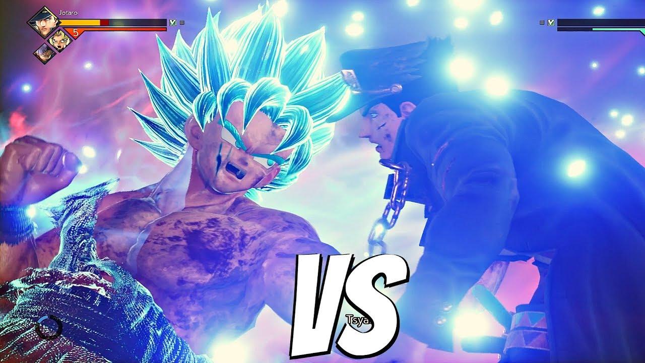 JUMP FORCE - Goku SSB Kaioken vs Jojo 1vs1 Gameplay (PS4 Pro) Jotaro vs Goku