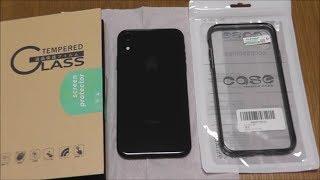 【ガラス保護フィルム】iPhone XR用液晶保護フィルム(ブルーライトカット)とクリアケースの紹介