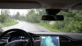 Tesla autopilot 1 at local twisting roads