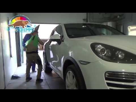 Удаление вмятины, восстановление ребра жесткости без покраски с демонтажом двери Porsche Cayenne