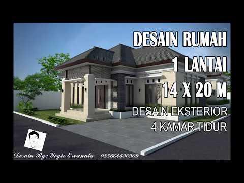 Desain Eksterior Rumah Mewah 1 Lantai  desain rumah 1 lantai 14 x 20 m desain eksterior youtube