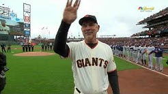 Bruce Bochy throws out first pitch for final home opener