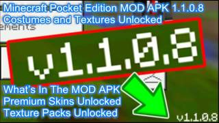 Minecraft Pocket Edition MOD APK 1.1.0.8 Costumes And Textures Unlocked