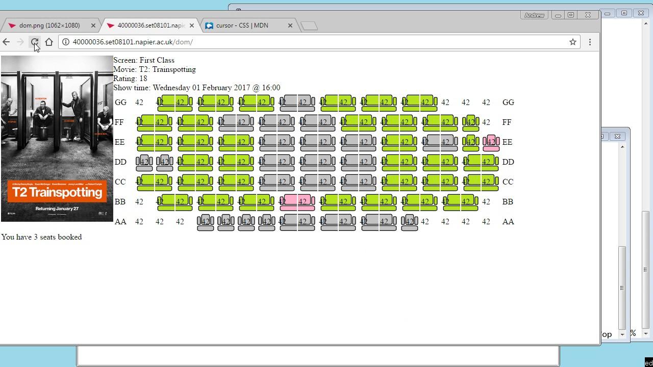 JQuery tutorial - Cinema Seat Booking Walkthrough - Progzoo