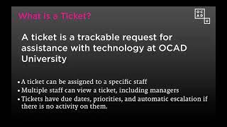 OCAD U - خدمات - كيفية إنشاء تذكرة