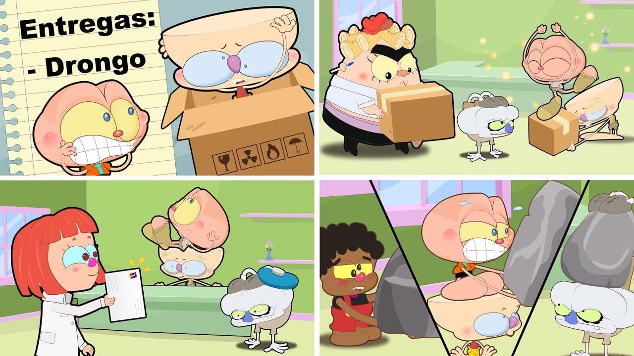 Mongo e Drongo e turma no Emprego. Vários episódios em desenho animado da turma de Mongo e Drongo.