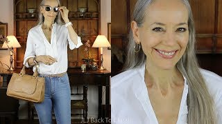 OOTD/Over 50: Skinny Jeans, White Button Up Shirt, Camel Bag, Loafers / Classic Fashion