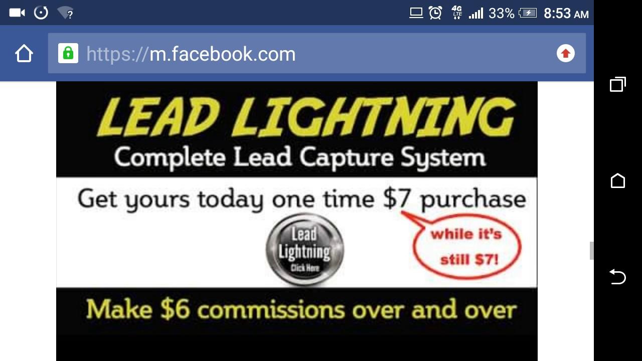 lead lightning system facebook group post proof lead lightning