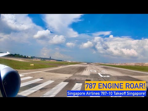 787 ENGINE ROAR!!! Singapore Airlines 787-10 takeoff
