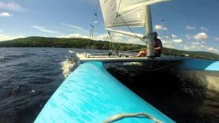 Prindle 16 catamaran sailing on Lake Pohenegamook, QC
