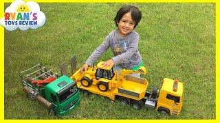 Construction Vehicles toys videos for kids Bruder Truck Crane Truck Loader Backhoe Disney Toys Cars