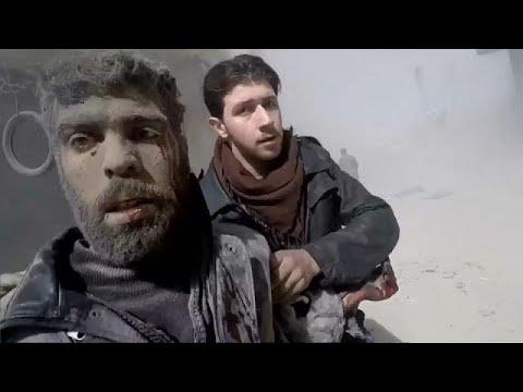 يورو نيوز:شاهد سكان الغوطة الشرقية يعيشون جحيما تحت القصف
