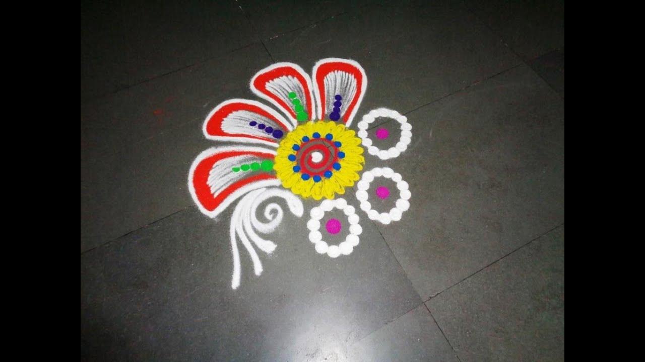 how to make nice flower rangoli design created by latest rangoli ... for Simple Rangoli Designs For Diwali With Flowers  166kxo
