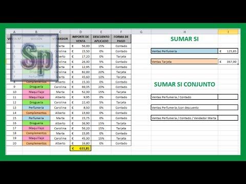 Excel - Sumar si, sumar si conjunto. Sumar utilizando uno o varios criterios. Tutorial en español HD