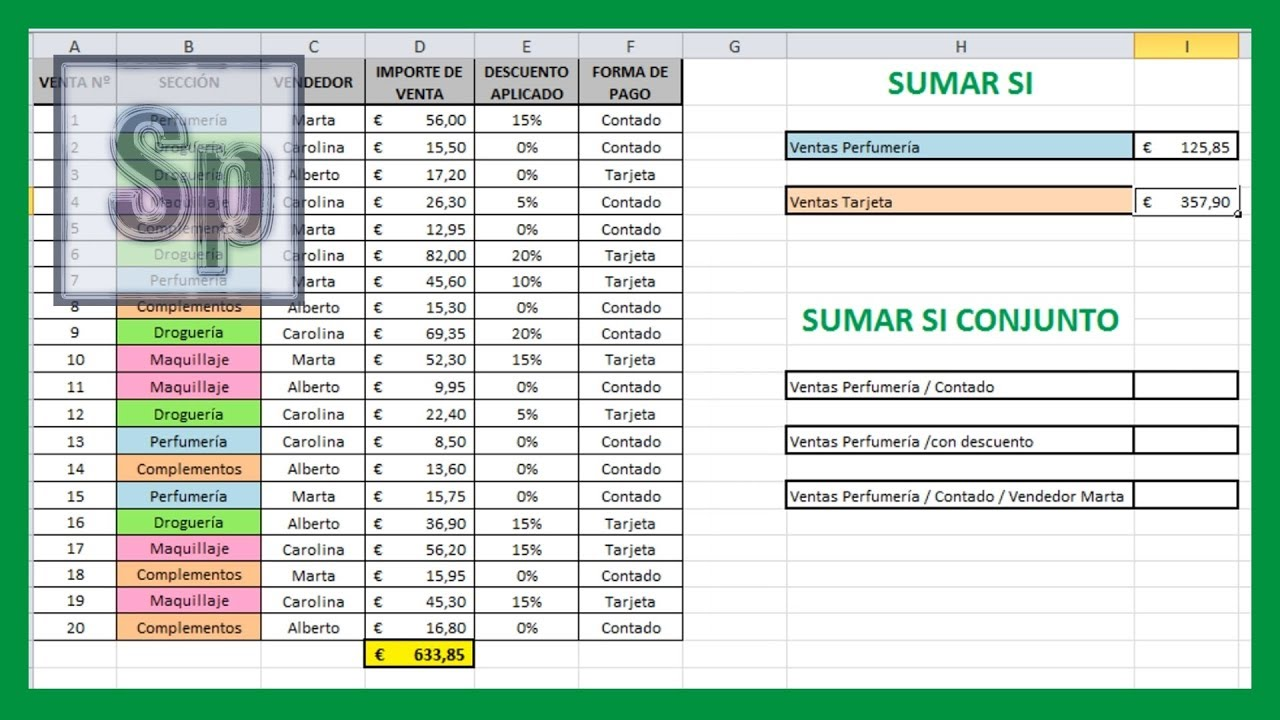 Excel - Sumar si, sumar si conjunto. Sumar utilizando uno o varios ...