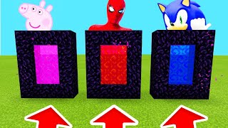 Minecraft PE : DO NOT CHOOSE THE WRONG PORTAL! (Peppapig,Spiderman,Sonic)