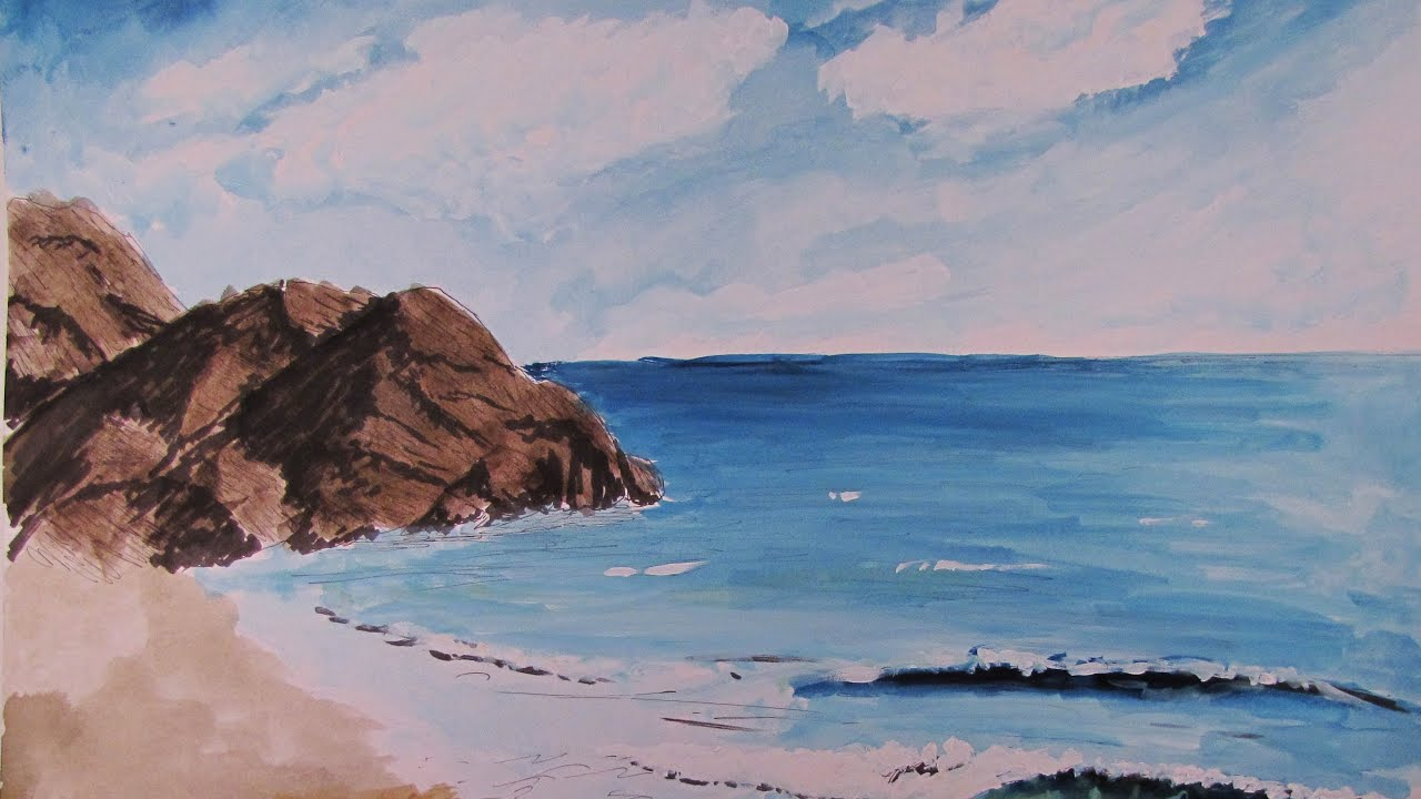 How To Paint a Realistic Watercolor Beach Scene YouTube