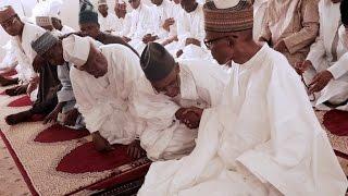 breaking; president buhari attends juma'at prayer service