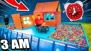 24 HOUR Box Fort Boat In Ball Pit Pool! Scary 3 AM MONSTER CHALLENGE!