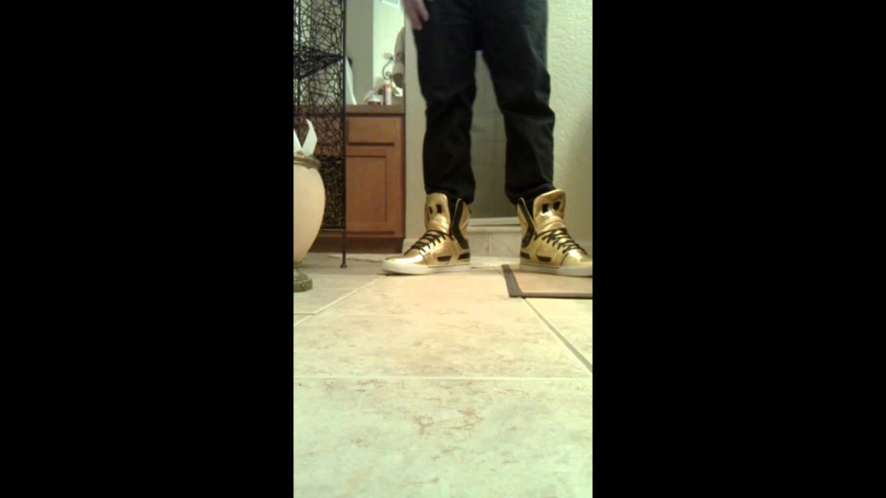 1d8c61481c Supra skytop II gold and black on feet review - YouTube