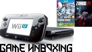 Game Unboxing - Nintendo Wii U [Deluxe Edition], New Super Mario Bros. U, ZombiU