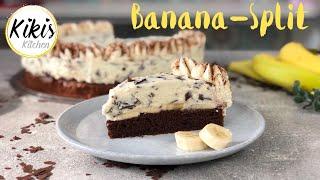 Bananentorte mit Stracciatellacreme und Schokoboden | Banana Split Torte | Stracciatella Torte