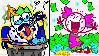 Max's In Unlucky Situation - RICH UNPOPULAR VS BROKE POPULAR Pencilanimation Funny Animated Film