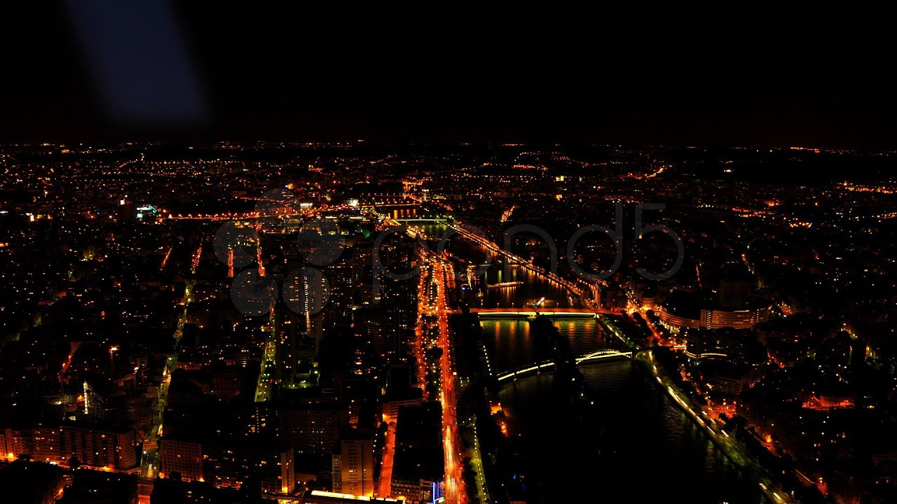 Illuminated paris skyline time lapse aerial cityscape for Paris night time