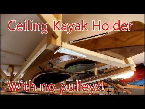 Ceiling Kayak Holder for a Heavy Wood Kayak
