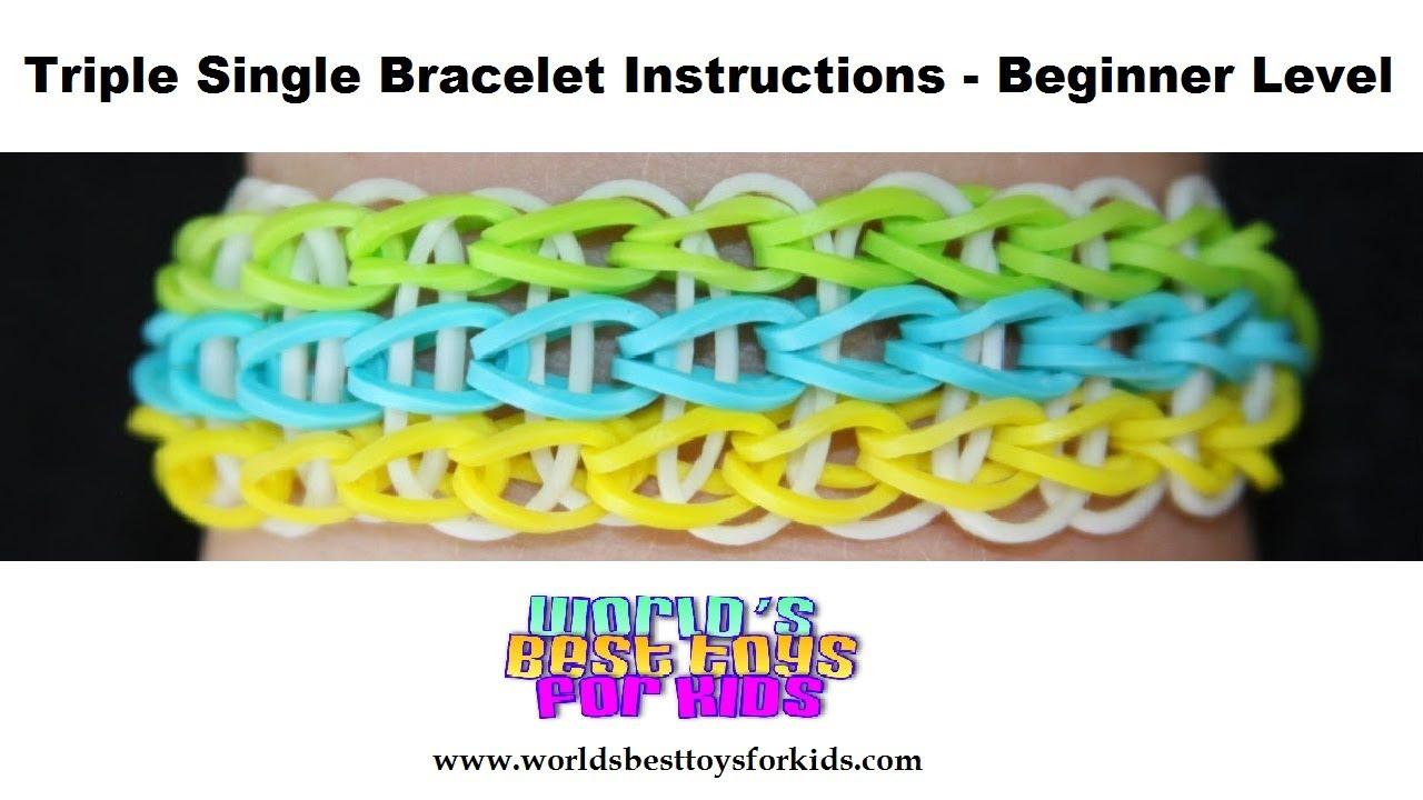 rainbow loom rubber band refill triple single bracelet