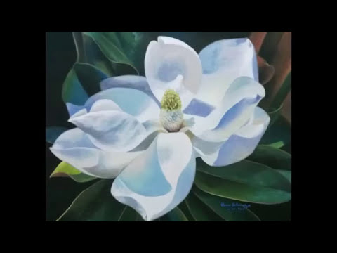 Step By Step How To Paint A Magnolia Flower In Realistic Youtube