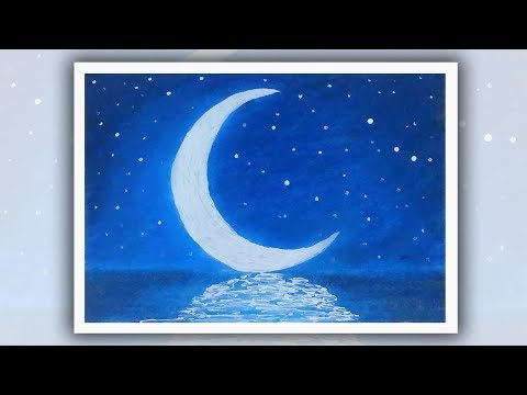 Easy oil pastel drawing for beginners, Moonlight scenery drawing