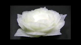 だいこんの飾り切り 🌼白バラの作り方🌼 野菜でカービング Vegetables carving Japanese white radish Garnish